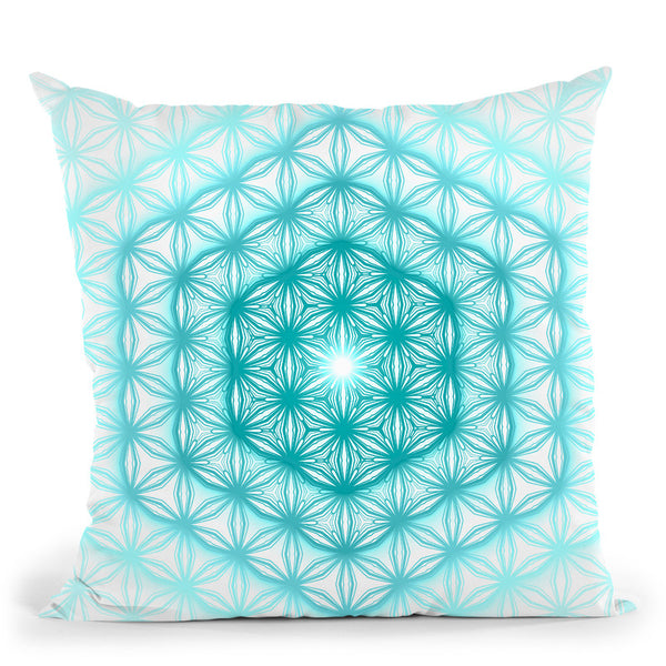 Flower Of Life Pattern - Teal Blue Throw Pillow By Yantart Designs