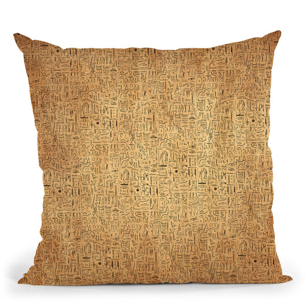 Egyptian Glyphs - Papyrus Throw Pillow By Yantart Designs