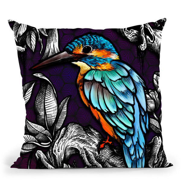 Kingfisher - Color Throw Pillow By Yantart Designs