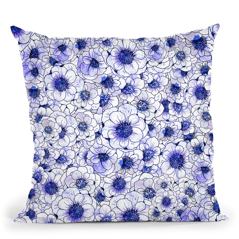 Anemone Blue Throw Pillow By Z Art Gallery
