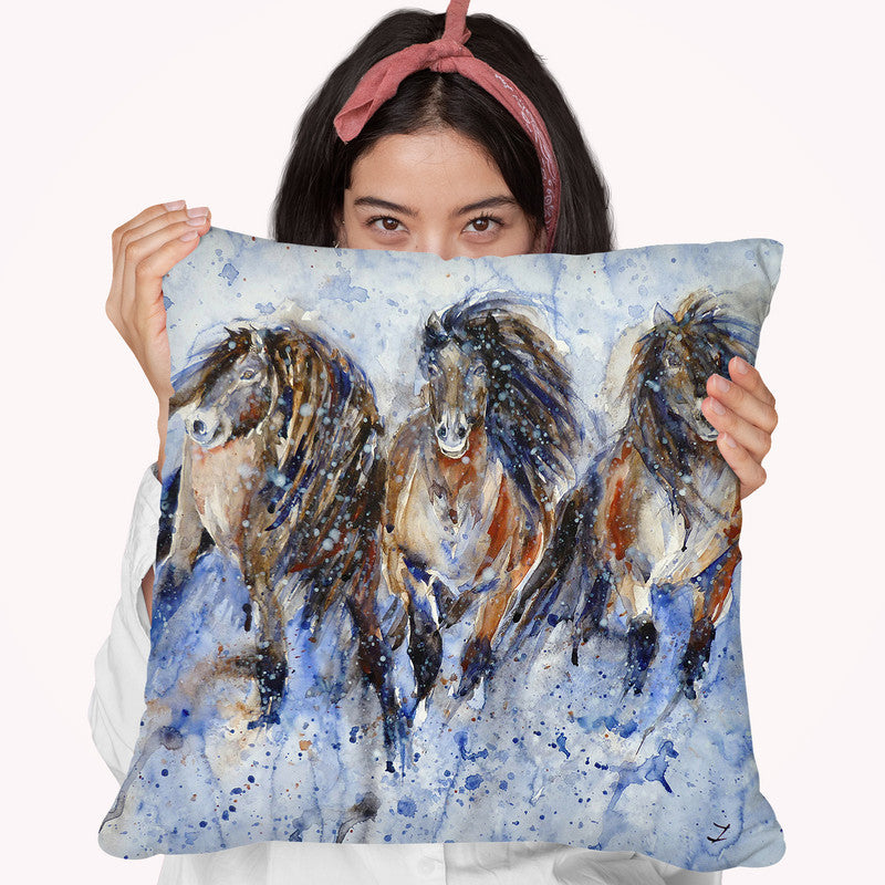 Yakutian Horses In The Snow Storm Throw Pillow By Z Art Gallery