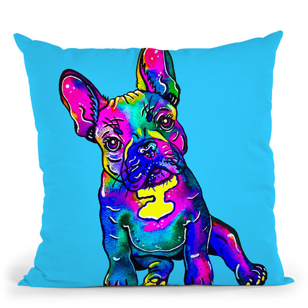 Colorful French Bulldog On Blue Throw Pillow By Z Art Gallery