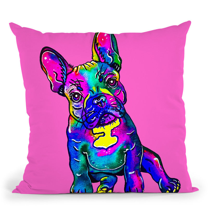 Colorful French Bulldog On Pink Throw Pillow By Z Art Gallery
