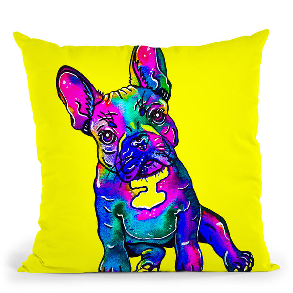 Colorful French Bulldog On Yellow Throw Pillow By Z Art Gallery