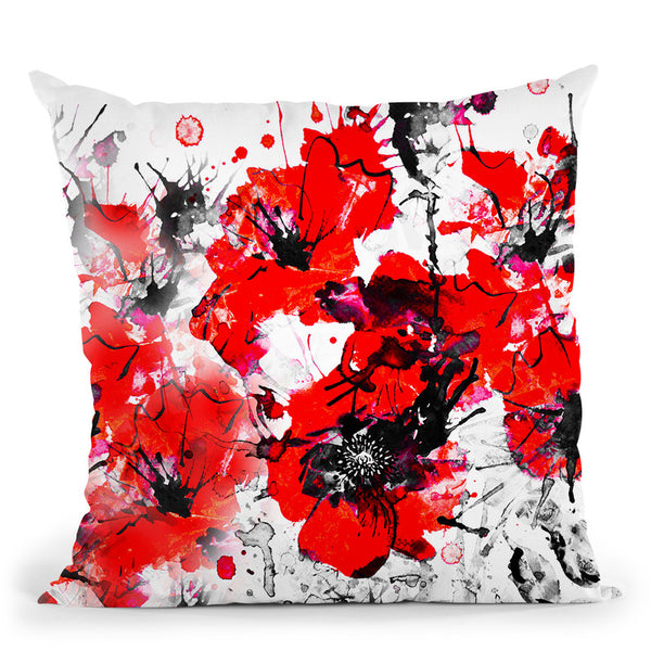 Flaming Poppies Throw Pillow By Z Art Gallery
