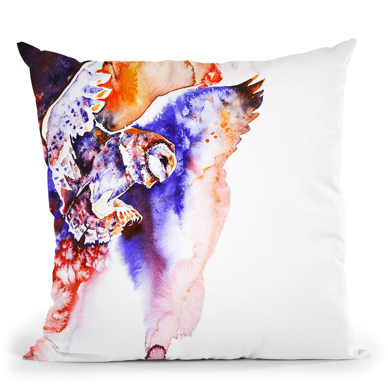 Flight Of The Barn Owl Watercolor Throw Pillow By Z Art Gallery