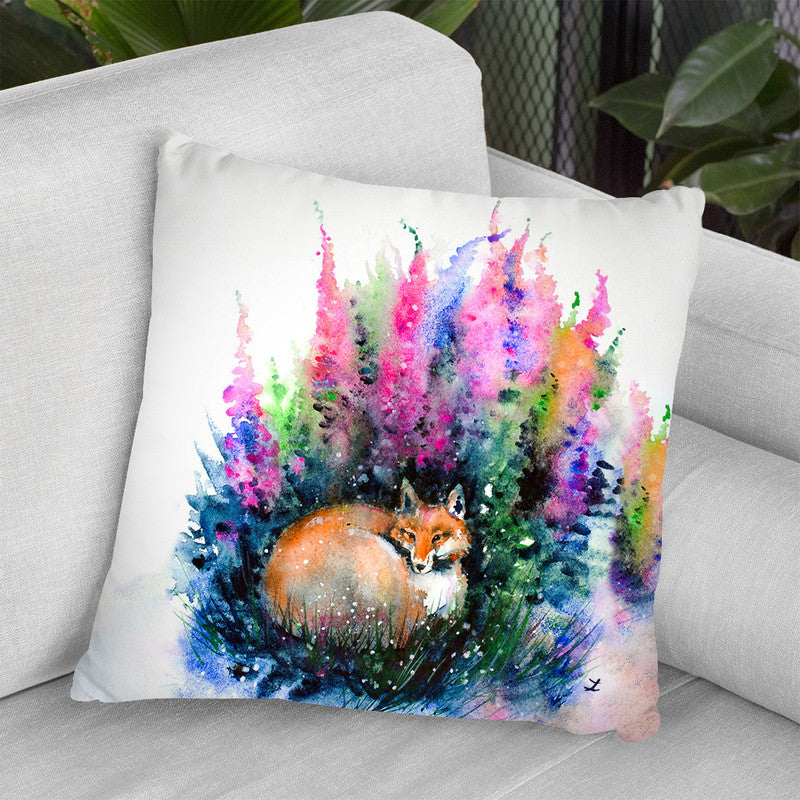 Fox In Foxgloves Watercolor Throw Pillow By Z Art Gallery