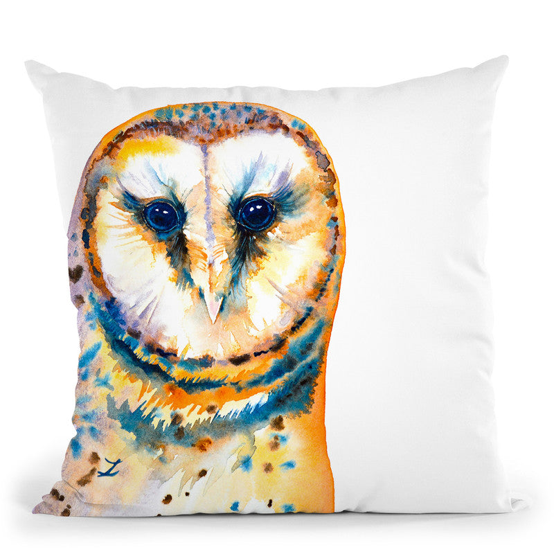 Gorgeous Barn Owl Watercolor Throw Pillow By Z Art Gallery