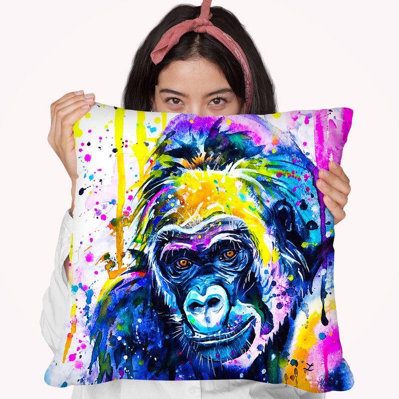 Gorilla 2 Watercolor Throw Pillow By Z Art Gallery