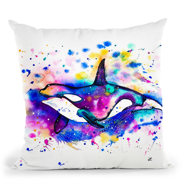 Orca Watercolor Throw Pillow By Z Art Gallery