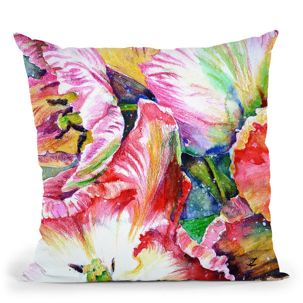 Parrot Tulips Throw Pillow By Z Art Gallery