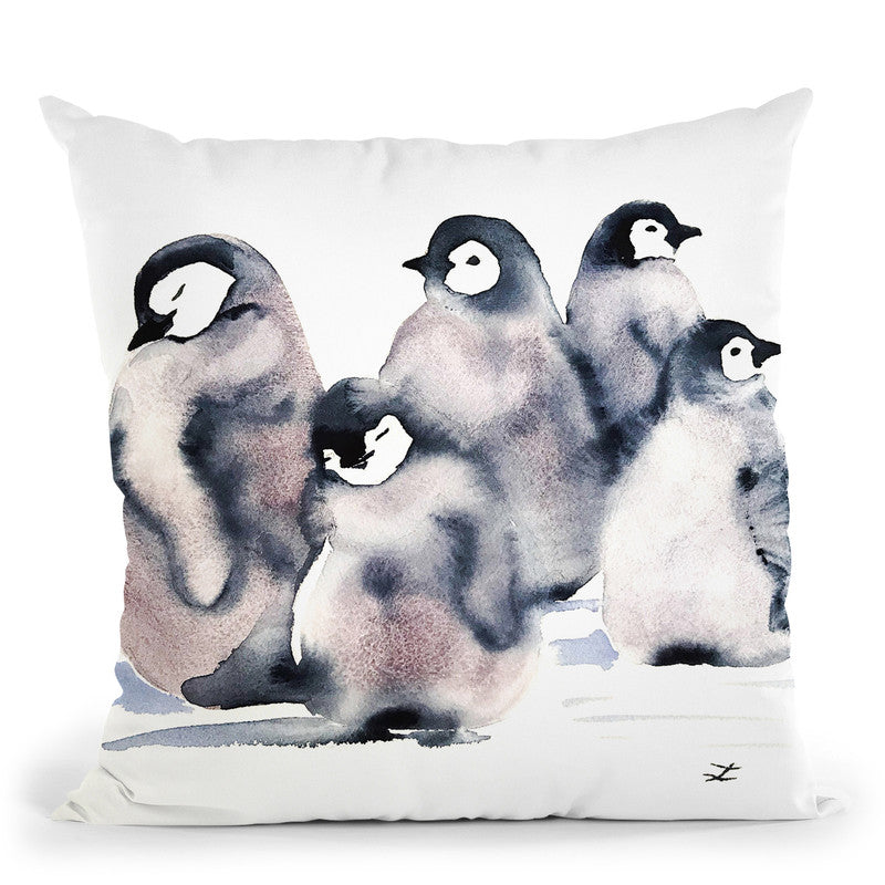 Penguin Cr�che Watercolor Throw Pillow By Z Art Gallery