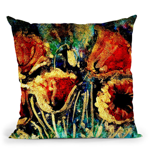 Poppies In Gold Throw Pillow By Z Art Gallery