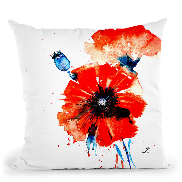 Poppy Red Throw Pillow By Z Art Gallery