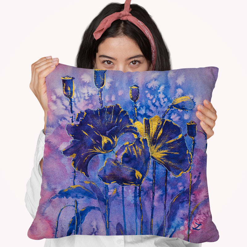 Purple Poppies In Gold Throw Pillow By Z Art Gallery