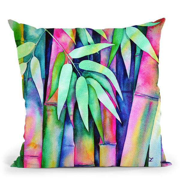 Raibow Bamboo 2 Watercolor Throw Pillow By Z Art Gallery