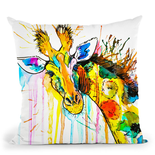 Rainbow Giraffe Throw Pillow By Z Art Gallery