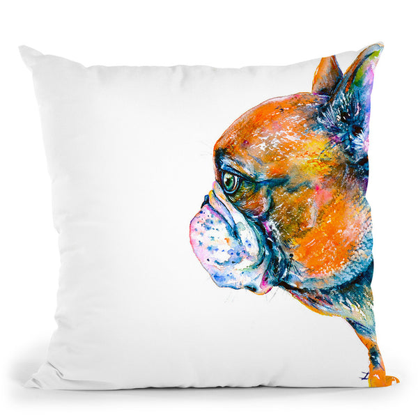 Red-Fawn Frenchie Throw Pillow By Z Art Gallery