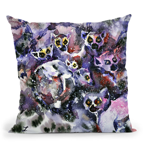 Ring-Tailed Lemurs Watercolor Throw Pillow By Z Art Gallery