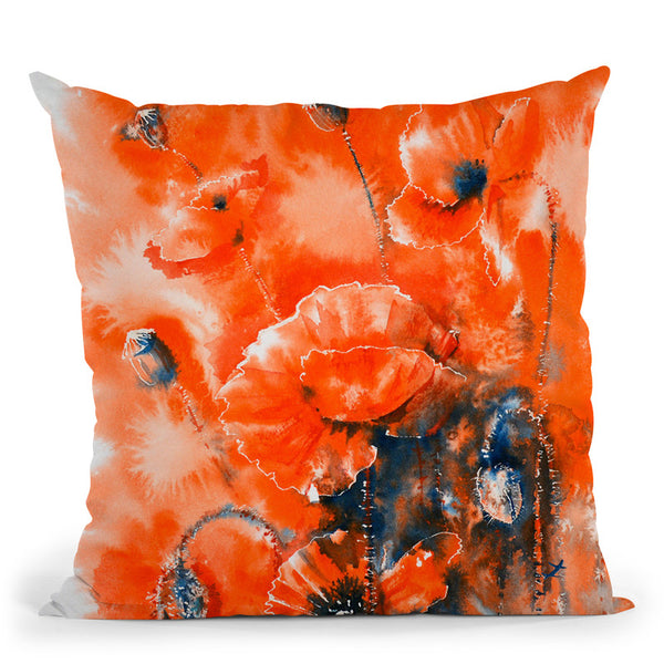 Scarlet Harmony Watercolor Throw Pillow By Z Art Gallery