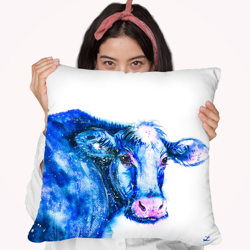 Blue Cow Throw Pillow By Z Art Gallery