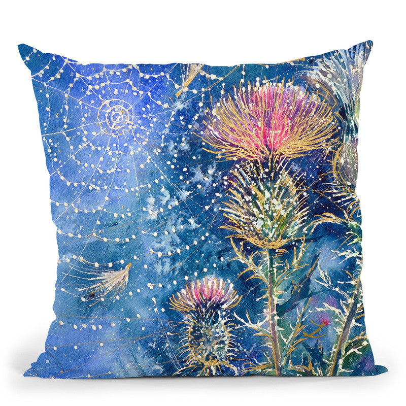 Spider Web On The Thistle Throw Pillow By Z Art Gallery