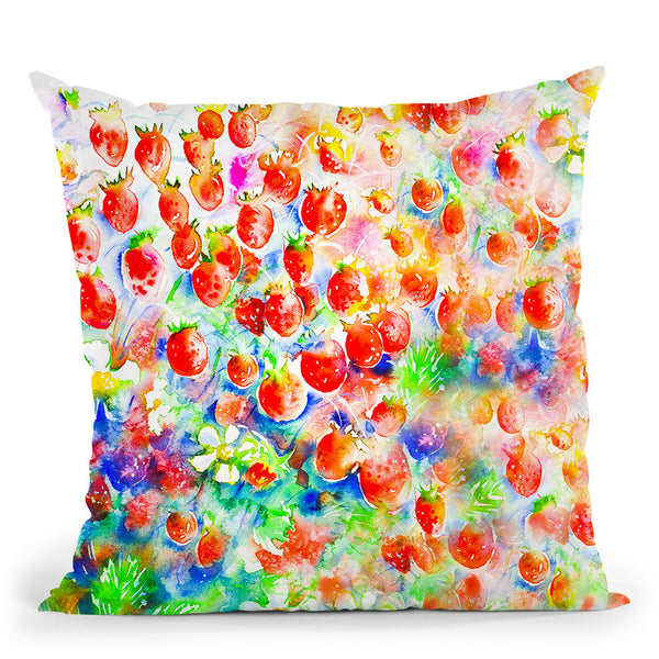 Summer Strawberries Throw Pillow By Z Art Gallery