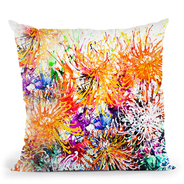 Sunny Chrysanthemums Throw Pillow By Z Art Gallery