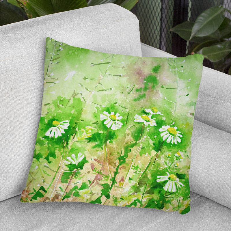 Sunny Daisies Watercolor Throw Pillow By Z Art Gallery