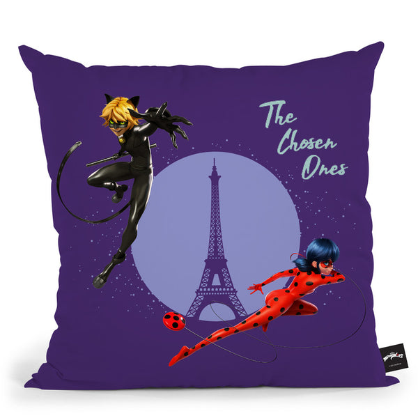Ladybug Cat Noir The Chosen Ones Throw Pillow By Miraculous