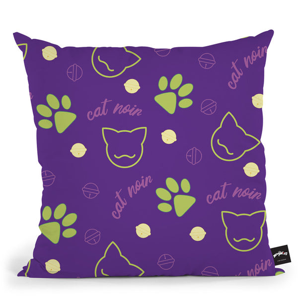 Cat Noir Pattern Throw Pillow By Miraculous