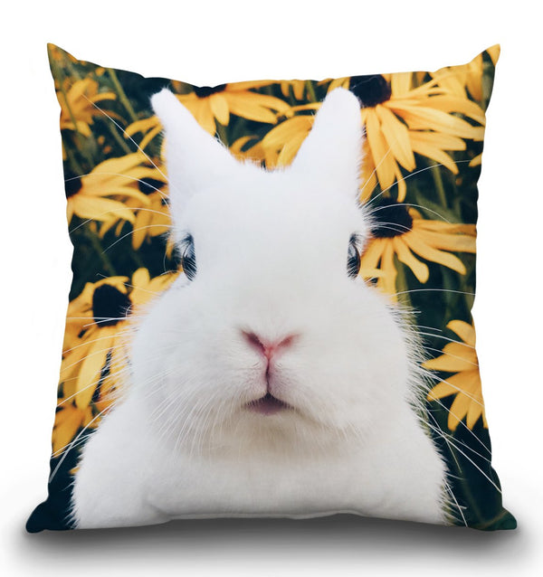 Very Fat Rabbit Mel Flowers Throw Pillow