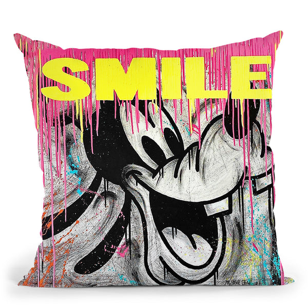 Smiling Goofy Art Throw Pillow by Stevie Chow