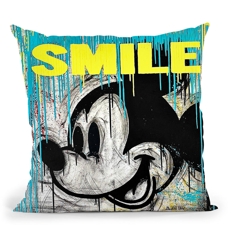 Smiling Mickey Art Throw Pillow by Stevie Chow