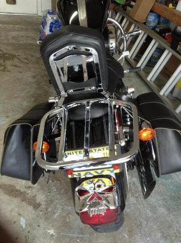 Talon Billets - LUGGAGE RACK 4 HARLEY SOFTAIL HERITAGE CLASSIC BACKREST SISSY BAR FLSTN CHROME
