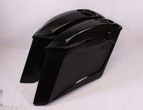 "6"" HARLEY  EXTENDED STRETCHED SADDLEBAGS w LIDS TOURING STREET GLIDE ROAD FL"