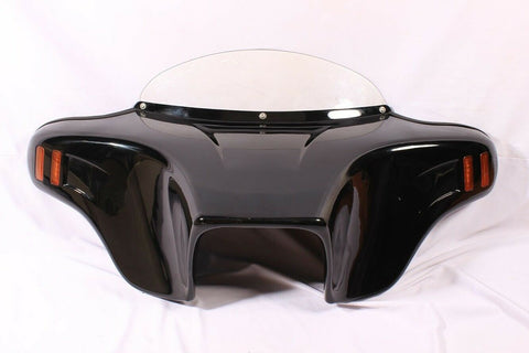 Talon Billets - PAINTED BATWING FAIRING WINDSHIELD HONDA VT1100 SHADOW SABRE 00-08 AMBER LED ABS