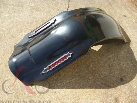 "FD4 GC+ LA4 4"" STRETCHED REAR FENDER COVER W AL LIGHT LED 4 HARLEY TOURING ROAD KING GLIDE"