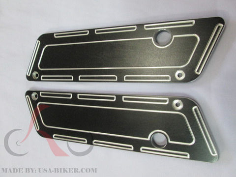 Talon Billets - Black Billet CNC Aluminum  Saddlebags Latch Cover Face 4 Harley Touring 93-13