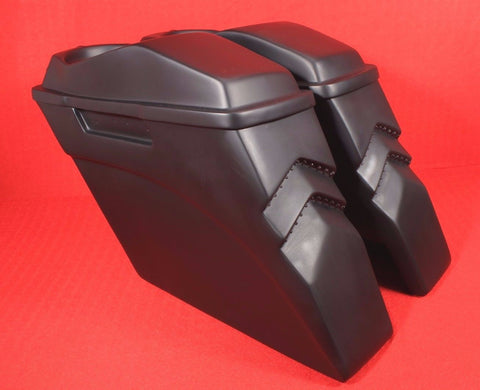 "Talon Billets - 4"" Bagger Stretched Extended Saddlebags lids 4 Harley Touring Softail Led Lights"