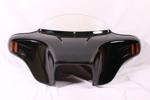 "Talon Billets - BATWING FAIRING WINDSHIELD TRIUMPH ROCKET III 6X9"" CUTOUT PAINTED ABS AMBER LED"