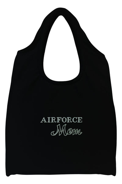 Air Force Mom Full-Size Rhinestone Logo Tote Bag