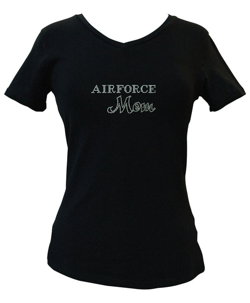 Air Force Mom Rhinestone V-Neck Tee
