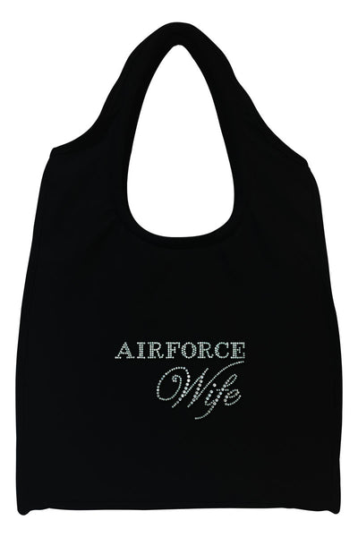 Air Force Wife Full-Size Rhinestone Logo Tote Bag