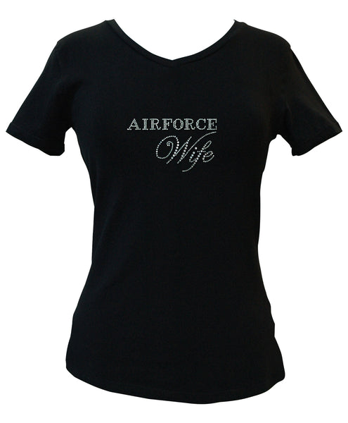 Air Force Wife Rhinestone V-Neck Tee