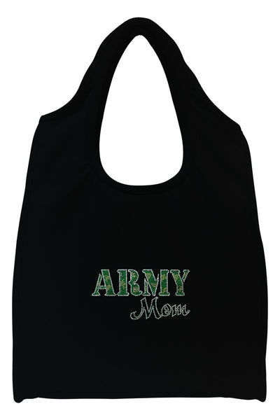 Army Mom Full-Size Rhinestone Logo Tote Bag