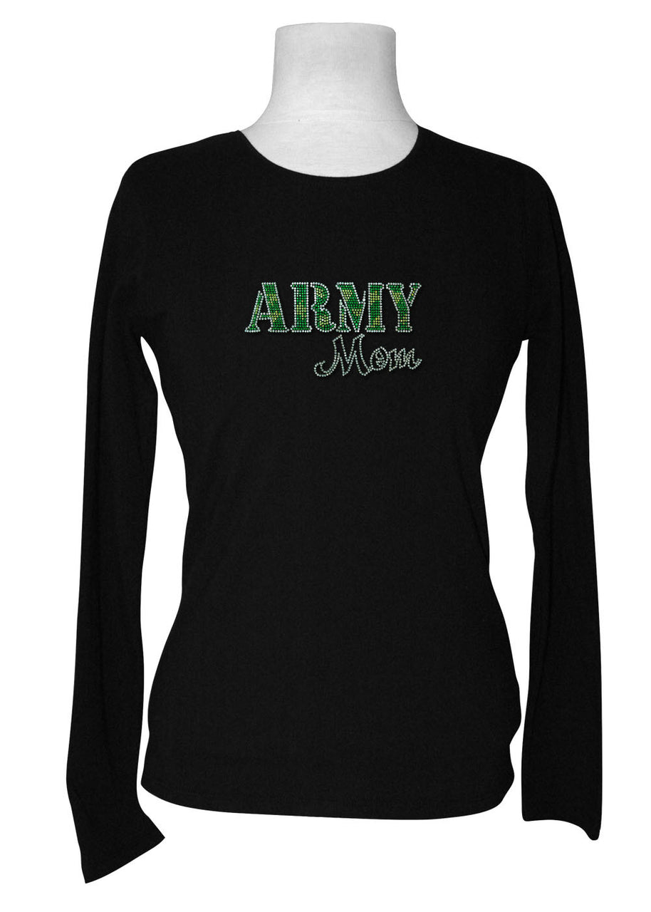 Army Mom Rhinestone Long Sleeve Tee