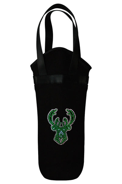 Milwaukee Bucks Rhinestone Logo Wine Tote
