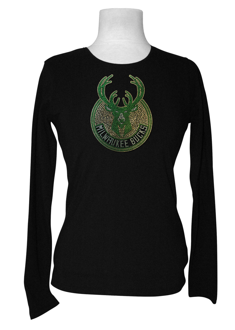 Official Milwaukee Bucks Rhinestone Long Sleeve Tee