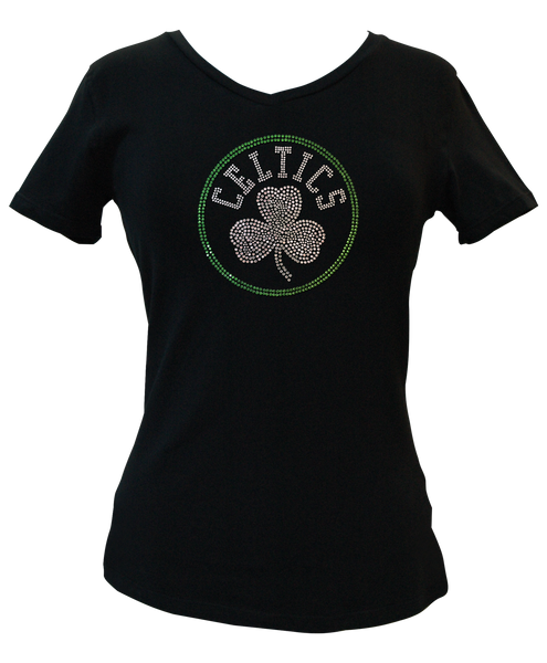 Official Boston Celtics Rhinestone V-Neck Tee